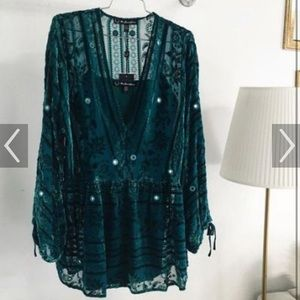 For Love and Lemons J'adore mini dress in emerald